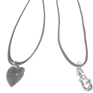Two black cord necklace with charms.